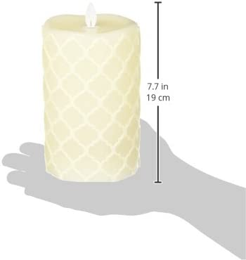 Sterno Home MGT12735CR Cream Hand Carved Design Wax Pillar with Timer