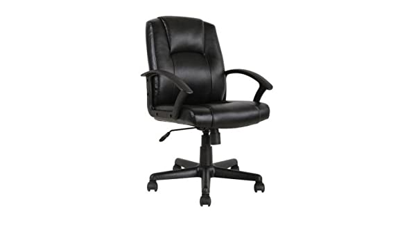 Amazon.com: Mainstays Mid-Back Leather Office Chair, Black: Sports & Outdoors
