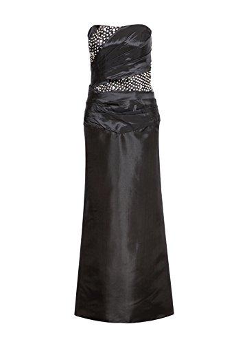 ROBLORA-Kleid-formale Abend-Cocktail Brautjungfer Brautkleid eine Schulter langes Kleid Noir44 Celine05