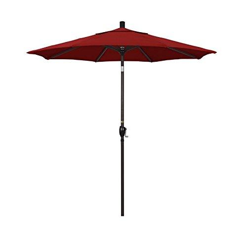 California Umbrella 7.5' Round Aluminum Market Umbrella, Crank Lift, Push Button Tilt, Bronze Pole, Sunbrella Jockey Red ()