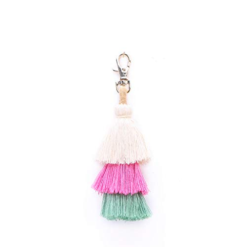 Orcbee  _Fashion Women Layered Colorful Boho Pom Pom Tassel Bag Charm Key Chain Gift (White) (Key Charm Watch)