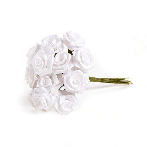 Bulk Buy: Darice DIY Crafts Ribbon Rose Bunch White 1/2 inches 12 roses per bunch (12-Pack) 3573-01