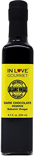 In Love Gourmet Dark Chocolate RESERVE Balsamic Vinegar 250ml/8.5oz Great for Fruit Fondues, Chocolate Desserts, and Pastries, Chocolate Glaze for Grilled Steaks, YUM by In Love Gourmet (Image #1)