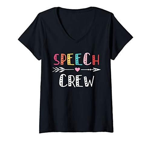 Womens Speech Crew Cute Speech Therapy Gift V-Neck T-Shirt
