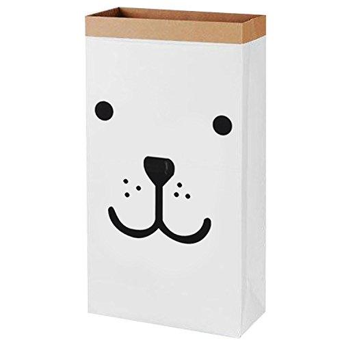 Kangkang Cute Cartoon Kraft Paper Storage Linen Bag Kids Toys Clothing Organizer Basket for Children Room Nursery Home Decor (Smiling Bear)