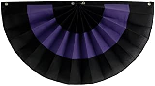 "product image for Funeral decorations by Independence Bunting - American Made Nylon Funeral Bunting! (PolyCotton - Black/Purple/Black, 12"" x 24"")"