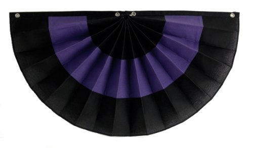Independence Bunting & Flag 24 by 48-Inch 3-Stripe Nylon Pleated Fan, Black/Purple/Black (3 Stripe Bunting)