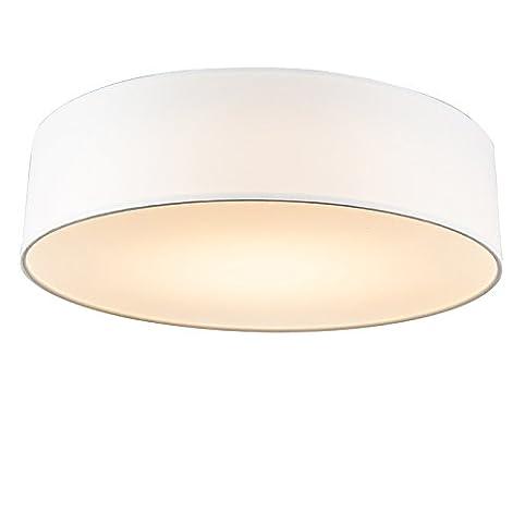 QAZQA Modern Deckenleuchte Deckenlampe Lampe Leuchte Drum Mit Schirm LED 40 Weiss