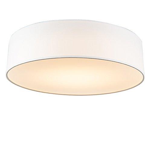 QAZQA Modern Deckenleuchte Deckenlampe Lampe Leuchte Drum Mit Schirm LED 40 Weiss Innenbeleuchtung Wohnzimmer Schlafzimmer Kuche Metall