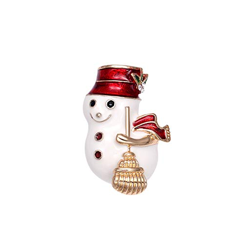 CHoppyWAVE Christmas Brooch Pin Snowman Broom Pattern Lapel Badge Rhinestone Enamel for Unisex Xmas Gift Decor