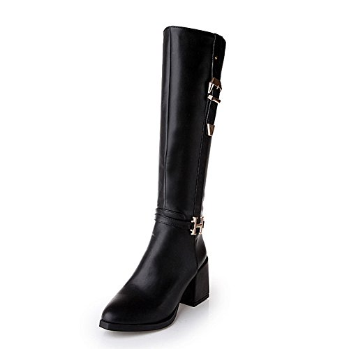 Urethane Toe Heel Zip High Boots Top MNS01973 Toe Round Adjustable 1TO9 Strap Womens Black Urethane Closed High Boots gqAxO86