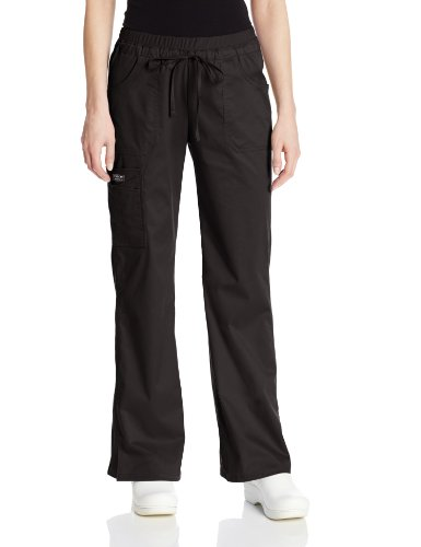 Cherokee Women's Workwear Scrubs Core Stretch Jr. Fit Low-Rise Cargo Pant, Black, - Scrub Fit Flare