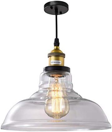 ISRAMP Ceiling Pendant Light, Mini Glass Kitchen Lights Over Sink, 1-Light Shade Modern Rustic Height Adjustable Cord Oil Brushed Bronze Socket Hanging Lighting Fixtures for Foyer Entrance Bar