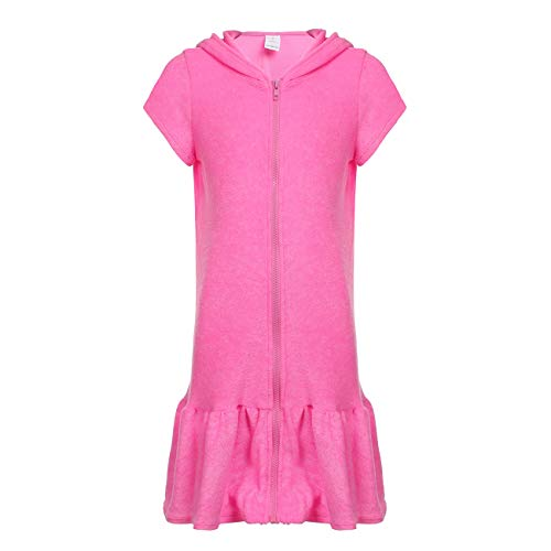 - DAYU Girls Terry Ruffle Hem Swim Cover Ups Hooded Zip Front Short Sleeve Swim Robe, Pink, 6-6X