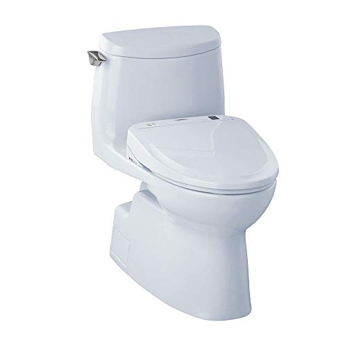TOTO MW614584CUFG#01 WASHLET+ Kit, Carlyle II 1G One-Piece Elongated 1.0 GPF Toilet and WASHLET S350e Bidet Seat, Cotton White