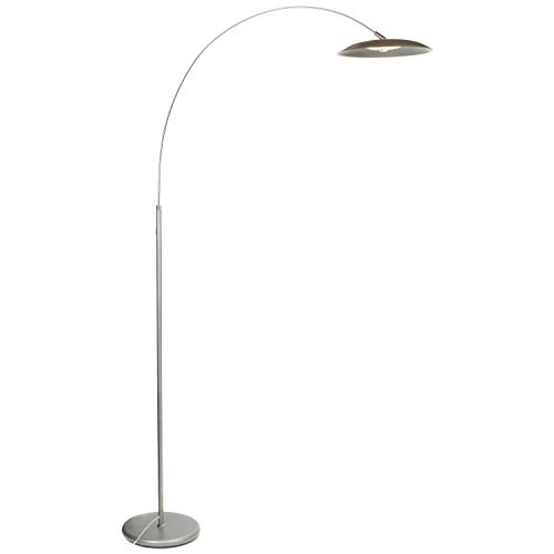 Brightech Atlas LED Floor Lamp- Dimmable Contemporary Modern Curved Arc Lamp- Tall Pole Standing Industrial Lamp with Ambient Lighting for Living Room Bedroom Office Dorm (Platinum (Arc Contemporary Floor Lamp)