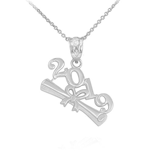 Polished 925 Sterling Silver 2019 Graduation Diploma Pendant Necklace, 16