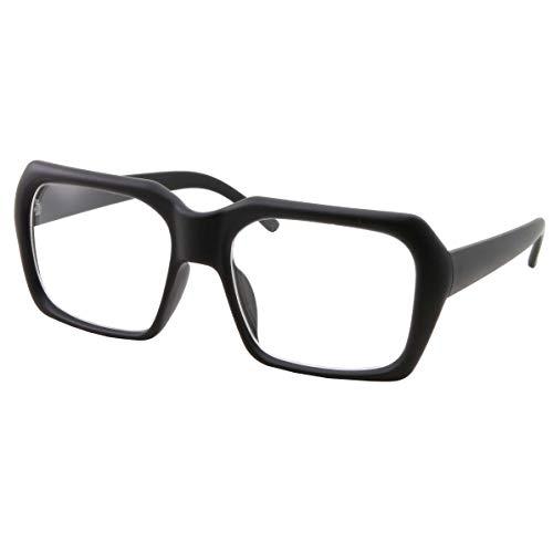 XL Oversized Black Nerd Clear Glasses - Men and Women - Square Costume (Matte -