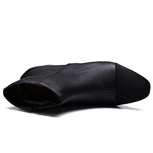 Moda Negro Cortas Zipper Botas Zanpa nSXqTOO6