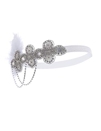 (Flapper Girl Black Feather Headpiece 1920s Flapper Headband Coustume Accessories (Silver)
