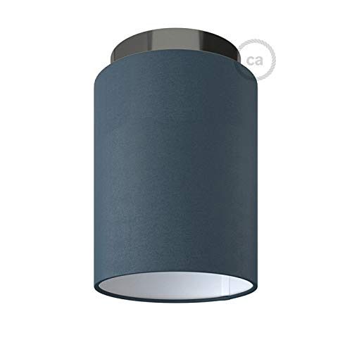 Fermaluce with Petrol Blue Cinette Cylinder Lampshade, Black Pearl Metal, Ø 5.90