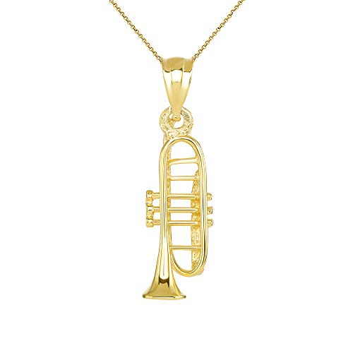 CaliRoseJewelry 14k Trumpet Horn Charm Pendant Necklace in Yellow Gold, 16