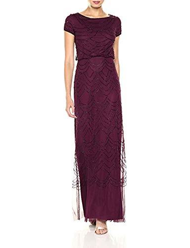 Adrianna Papell Women's Short Sleeve Beaded Blouson Gown, Cassis, 18