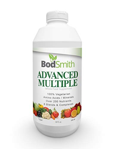 Advanced Liquid Multivitamin by BodSmith - Professional Grade Daily Multi Vitamins, Minerals & Antioxidants Amino Acids Over 200 Nutrients 8 Blends & Complexes made with natural & organic ingredients (Agave Cactus Juice)