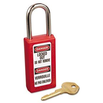 Master Lock 411RED Lightweight Zenex Safety Lockout Padlock, 1 1/2'' Wide, Red, 2 Keys, 6/Box