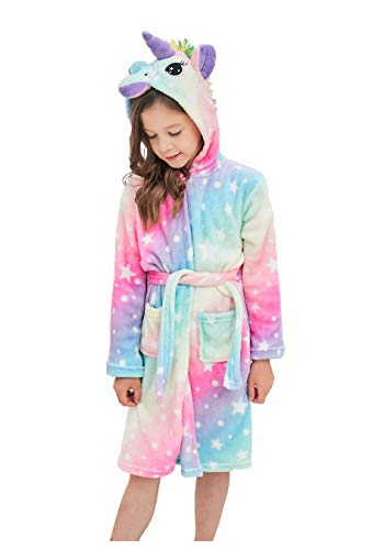 Soft Unicorn Hooded Bathrobe Sleepwear - Unicorn Gifts for Girls (7-9 Years, Rainbow Star) -