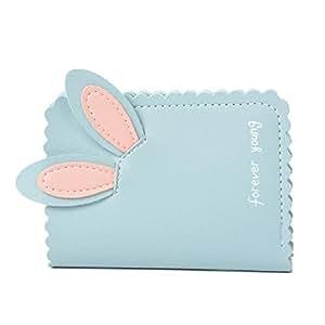 Nawoshow Women Wallet Rabbit Ear Bifold Wallet Card Holder Organizer Small Purse (Blue)