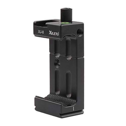AFVO Phone Clamp Tripod Mount Adapter with Cold Shoe & Bubble Level, Vertical & Horizontal Metal Smartphone Holder Video Rig