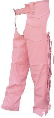 Ladies Pink Chaps - Ladies Cowhide Leather PINK Hip-Hugger Chaps with Braid & Fringe Detail - 2XS - AL2422