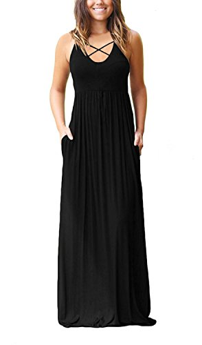EZBELLE Women's Sleeveless Racerback Maxi Dresses with Pockets Plain Loose Casual HighWaisted Long Dresses Black Small