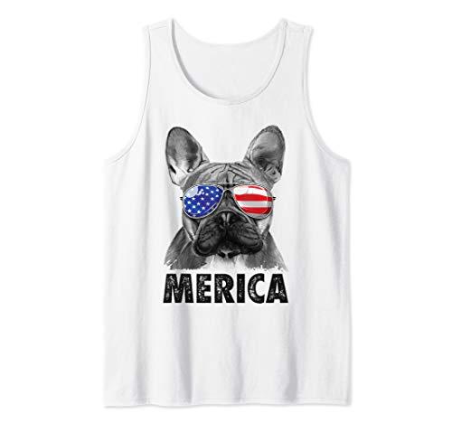 French Bulldog 4th of July Shirts Merica Men Women USA Flag Tank - Tank Bulldog