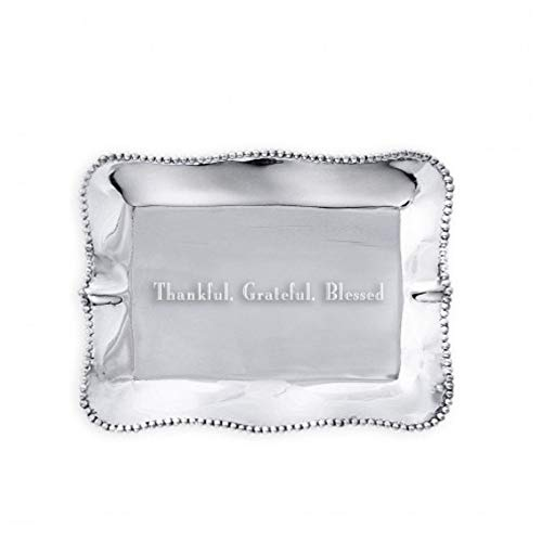 - Beatriz Ball Giftables Pearl Rect Engraved Tray- Thankful, Grateful, Blessed