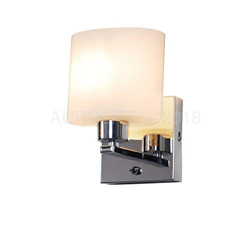 the latest 6dd31 c752e AUROLITE Bianco 1 Wall Light Bracket with Toggle Switch, Chrome & Glass,  Ideal for Living Room, Bedroom, Hallway, Suitable for LED Upgrades, 2018  New ...