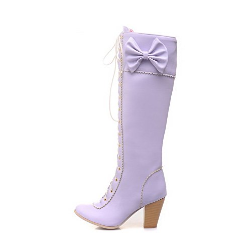 Heels top Women's PU AgooLar High Zipper Boots Solid High Purple OtqO0nx