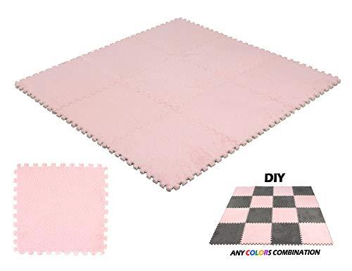 DeElf 9 pcs Interlocking Carpet Tiles Plush Foam Square Mats Set for Living Room, Bedroom, Kitchen and Hard Floor (Pink)