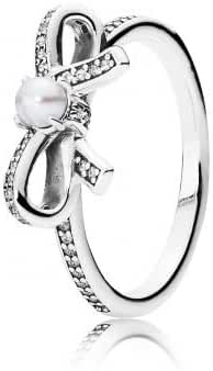 Pandora 190971P-54 Delicate Sentiments, Ring White Pearl & Clear CZ, size 7