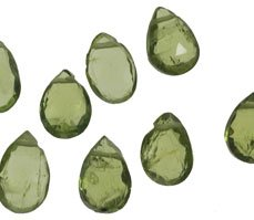 Peridot Briolettes Facet Beads Pear ~7mm (10)