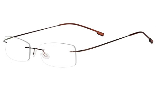 8dd9489ca3 Agstum Mens Womens Titanium Alloy Flexible Rimless Frame Prescription  Eyeglasses 51mm