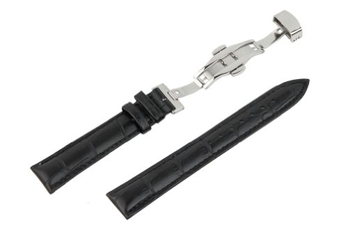 - RECHERE 22mm Alligator Grain Leather Watch Band Strap Push Button Deployment Clasp Color Black