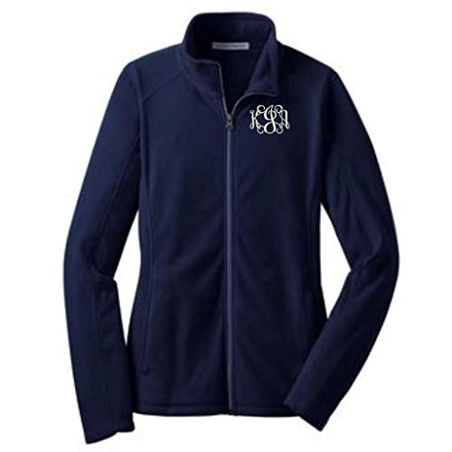 - Lane Weston Monogrammed Women's Microfleece Jacket with Pockets (X-Large, True Navy)