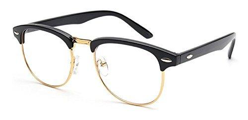 Lasree Vintage Retro Classic Half Frame Horn Rimmed Clear Lens Glasses Fashion Eyewear Spectacles (Gold, - Spectacle Vintage Frames