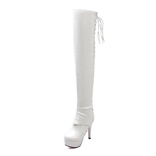 AllhqFashion Damen Blend-Materialien Hoher Absatz Schließen Zehe Hoch-Spitze Stiefel Weiß-Überschneidend Armband