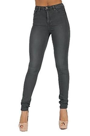 7fa6b06573 Toxik3 Femmes Taille Haute Jeans Skinny, Gris - Femme, Gris, 6 ...