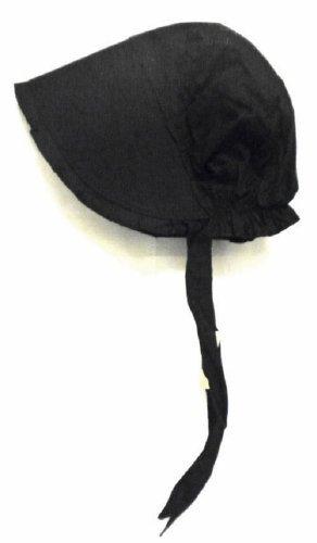 [100% Black Cotton Prairie Pilgrim Amish Bonnet Medium Thanksgiving Hat] (Black Costumes Bonnet)