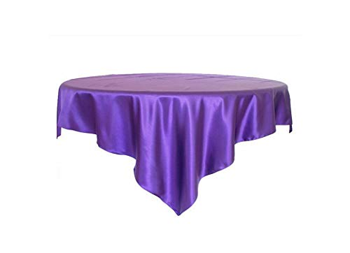 HuangKang 1Pcs 145X145Cm Black Satin Tablecloth Double Stitched Edge Table Cloth Overlay Home Party Table Decoration,Purple,90X90Inch-228X228Cm from HuangKang
