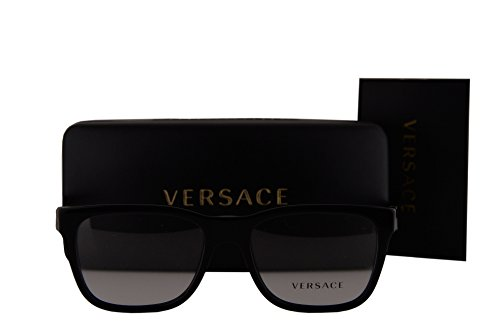 Versace VE3243 Eyeglasses 53-17-145 Shiny Black w/Demo Clear Lens GB1 VE - Eyeglass Versace Rimless Frames